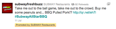 Subway Promoted Tweet_Localgrowth Blog_Joe Garvey_Seattle
